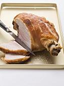 Knuckle of pork, partly carved