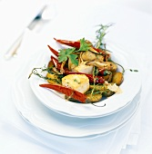 A butterfish with chilli pepper kebab on rosemary potatoes