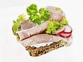 Open ham sandwich with radish slices