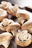 Several fresh button mushrooms