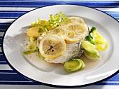 Cod with lemon, leek and potatoes