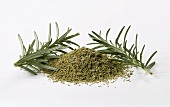 Dried rosemary with fresh sprigs of rosemary
