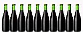 Ten green bottles standing in a row (stout, dark beer)