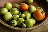 Green and red tomatoes in terracotta dish