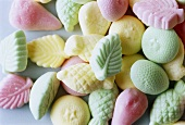 Pastel-coloured sweets from Sweden (overhead view)