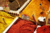 Various spices at a market in Turkey