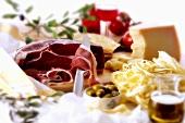 Parma ham, tagliatelle, Parmesan and olives