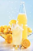Lemonade in glass and bottle