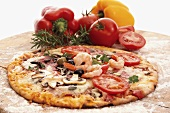 Prawn, tomato and mushroom pizza