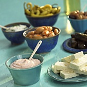 Greek appetisers: taramas, feta, vegetables etc.