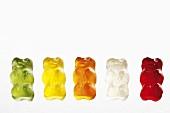 Five Gummi bears in a row