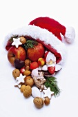 Santa Claus hat with fruits, close-up