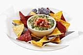 Spinach and Parmesan dip with tortilla chips