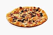 Mushroom, ham and olive pizza