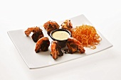 Slightly burnt prawns with carrots and dip