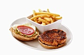 Salmon burger with chips