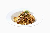Spaghetti mit Knoblauch und Hähnchenbrust
