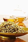 Dried chamomile flowers and chamomile tea