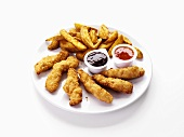 Chicken fingers and potato wedges with dip
