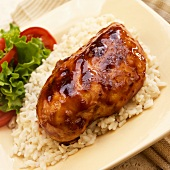 Grilled Barbecue Chicken over Rice