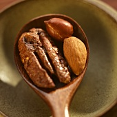 Spiced Pecan, Almond and Peanut in Wooden Spoon