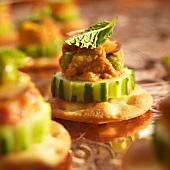 Chicken Tikka Amuse Bouche on Cucumber and Cracker