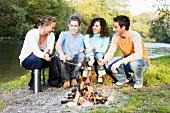 Junge Leute grillen beim Lagerfeuer am Fluss