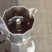 Espresso maker, close-up, elevated view