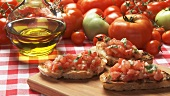 Bruschetta, olive oil and fresh tomatoes