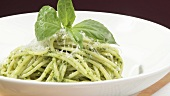Spaghetti with pesto and Parmesan