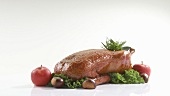 Roast duck with apples and chestnuts
