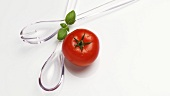 Salad servers with one tomato and basil leaves