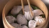 Dim sum in bamboo basket