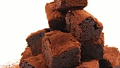 Brownies dusted with cocoa powder