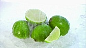 Water being poured over limes