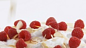 Cream with raspberries, honey and flaked almonds
