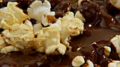 Popcorn with chocolate sauce