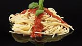 Spaghetti mit Tomatensauce und Basilikum
