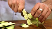 Slicing a courgette