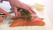 Slicing gravlax (close-up)