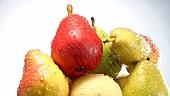 Verschiedene Birnen werden gewaschen