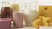 Assorted dairy products, milkshakes and cheeses