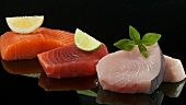 Salmon fillet, tuna steak and swordfish steak