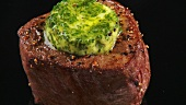 Fried beef fillet with herb butter