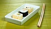 Dish of maki sushi