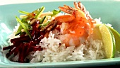 Prawns with rice, beetroot and sweet and sour chilli sauce