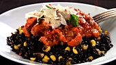 Black rice with sweetcorn, sauce and sumach