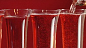 Glasses of sparkling rosé wine