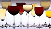 Various types of wine in glasses