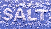 The word SALT written in sea salt flakes